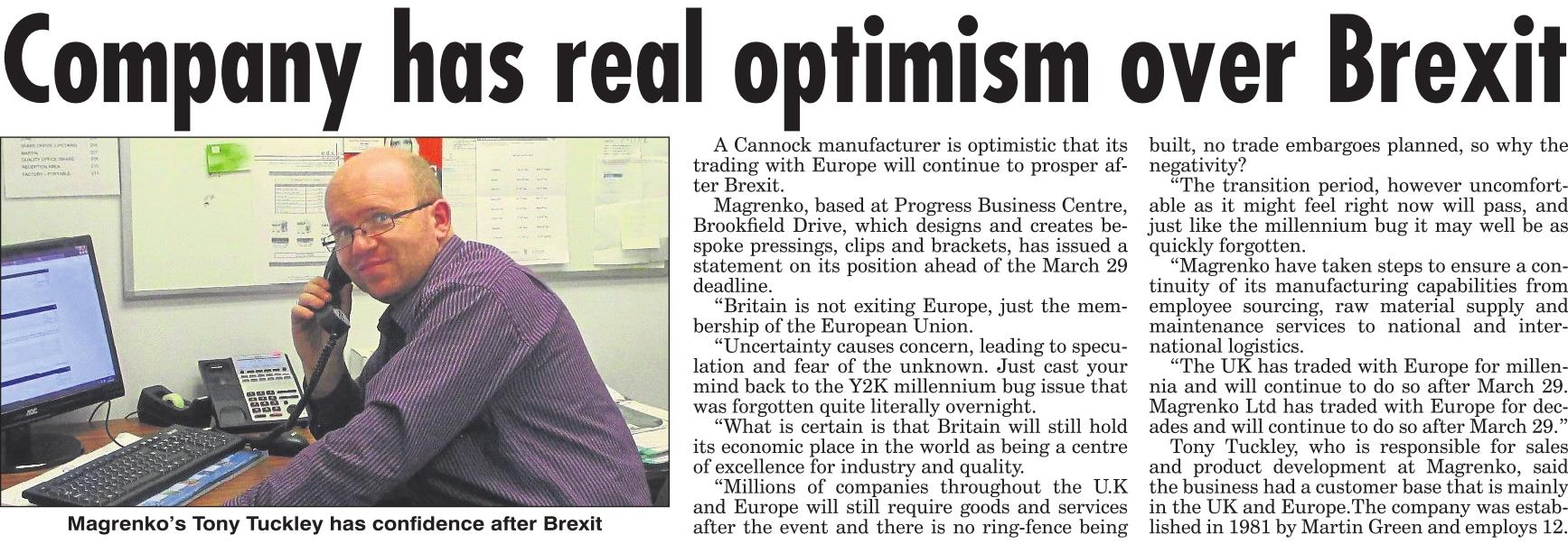 Magrenko has real optimism over Brexit.